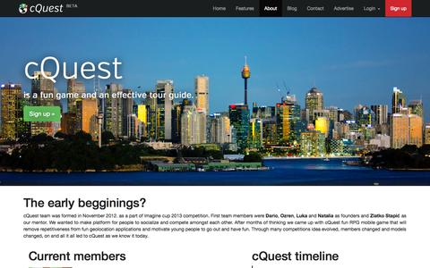 Screenshot of About Page cquest.eu - cQuest Aboutus - captured Oct. 28, 2014