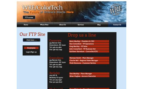 Screenshot of Contact Page wrecolor.com - WRE/ColorTech gravure cylinders | Contact Us - captured Nov. 30, 2016