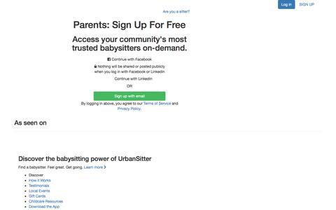 Screenshot of Signup Page urbansitter.com - Sign Up for Parents - UrbanSitter - captured Aug. 3, 2016
