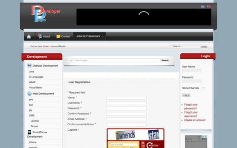 Screenshot of Signup Page developerpages.gr - Account Details - captured Dec. 25, 2016