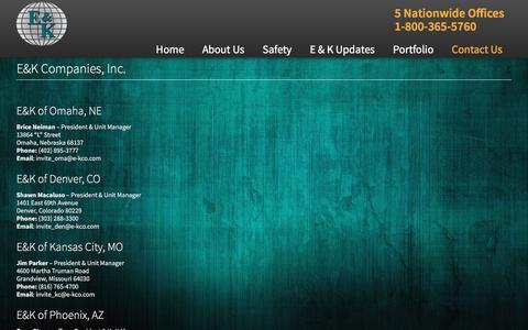 Screenshot of Contact Page e-kco.com - E&K Companies - captured Jan. 23, 2016