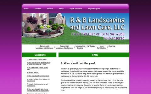 Screenshot of FAQ Page rblandlawn.com - R&B Landscaping & Lawn Care, LLC - captured Oct. 3, 2014