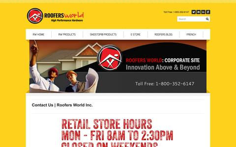 Screenshot of Contact Page roofersworld.com - Contact - Roofers World Inc. - captured Sept. 30, 2014