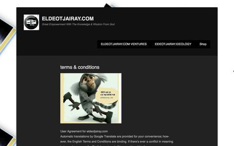 Screenshot of Terms Page eldeotjairay.com - terms & conditions | {eldeotjairay.com ventures} - captured Oct. 1, 2014
