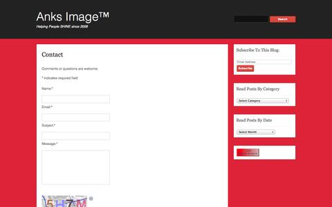 Screenshot of Contact Page anksimage.com - Contact | Anks Image™ - captured Oct. 27, 2014