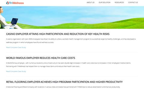 Screenshot of Case Studies Page triwellnesstoday.com - Case Studies  |  Wellness Program management and Workplace Wellness Solutions from Tri Wellness - captured Oct. 7, 2014