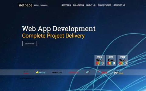Screenshot of Home Page netpace.com - Cloud Computing, Consulting, Mobile Applications - Netpace Inc. - captured Dec. 26, 2015