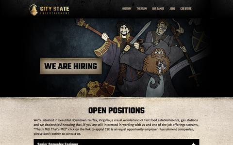 Screenshot of Jobs Page citystateentertainment.com - Jobs | City State Entertainment - captured Jan. 28, 2016