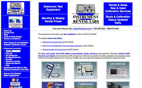 Screenshot of Home Page testequip.com - Instrument Rental Labs specializes in Electronic Test Equipment rentals and sales. - captured Oct. 6, 2014