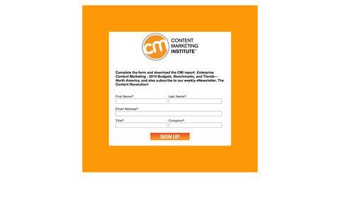 Screenshot of Landing Page contentmarketinginstitute.com - Enterprise CM Report - captured Oct. 18, 2016