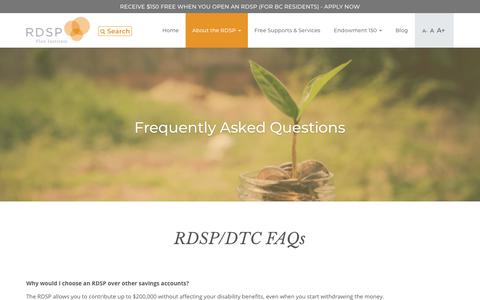 Screenshot of FAQ Page rdsp.com - Frequently Asked Questions - RDSP - captured Jan. 20, 2018