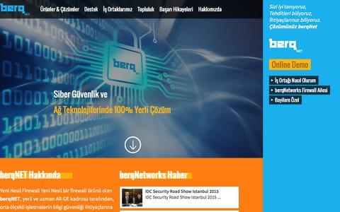 Screenshot of Home Page berqnetworks.com - berq Networks  Siber Güvenlik Çözümleri, Yerli Firewall Yazılımı, Yerli UTM Cihazı, Yeni Nesil Firewall - captured Jan. 23, 2016