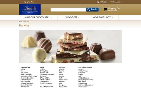 Screenshot of Site Map Page lindtusa.com - Site Map   Lindt Chocolate - captured Sept. 23, 2014