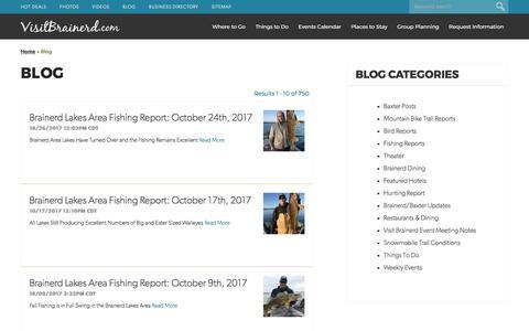 Screenshot of Blog visitbrainerd.com - Visit Brainerd Blog - Minnesota Vacation & Travel Blog - captured Oct. 29, 2017