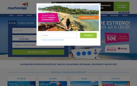 Screenshot of Home Page muchoviaje.com - Hoteles - Buscador de hoteles - Muchoviaje.com - captured July 21, 2016