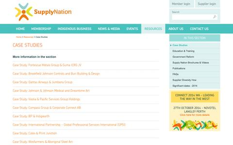 Screenshot of Case Studies Page supplynation.org.au - Supply Nation › - captured Oct. 8, 2014
