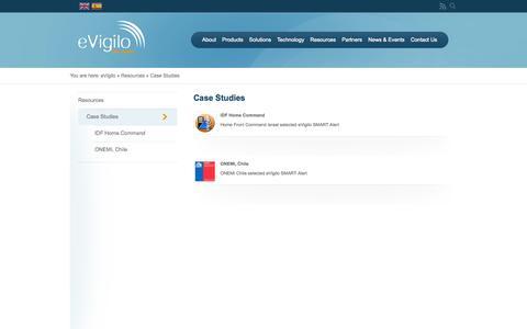 Screenshot of Case Studies Page evigilo.net - Case Studies   eVigilo - captured Sept. 16, 2014