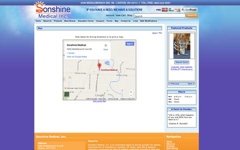 Screenshot of Maps & Directions Page sonshinemedical.com - Map and Driving Directions Sonshine Medical, Inc. Canton, OH (866) 622-0041 - captured Oct. 6, 2014