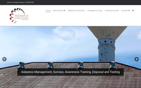 Screenshot of Home Page asbestosmc.com - Home - Asbestos Management Co (Ireland) Ltd - captured Oct. 4, 2018