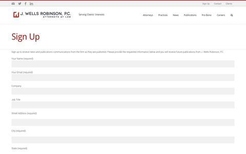 Screenshot of Signup Page jwrpc.com - J. Wells Robinson, P.C. | Sign up - captured Oct. 3, 2014
