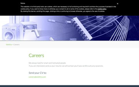 Screenshot of Jobs Page selettra.com - Careers - Selettra - captured Oct. 1, 2018