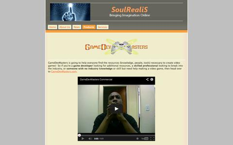 Screenshot of Products Page soulrealis.com - Products - SoulRealiS - captured Sept. 30, 2014