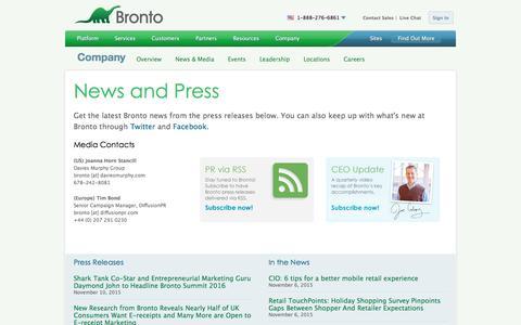 Screenshot of Press Page bronto.com - News and Press Releases | Bronto Software - captured Nov. 11, 2015