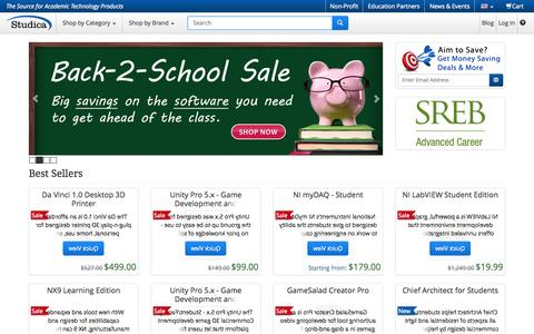 Screenshot of Home Page Site Map Page studica.com - Studica.com : Academic Software Discounts for Students, Teachers, Schools, STEM Education, 3D Printers - captured Sept. 24, 2014
