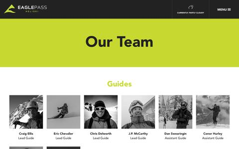 Screenshot of Team Page eaglepassheliskiing.com - Our Team | Eagle Pass Winter - captured Nov. 4, 2018