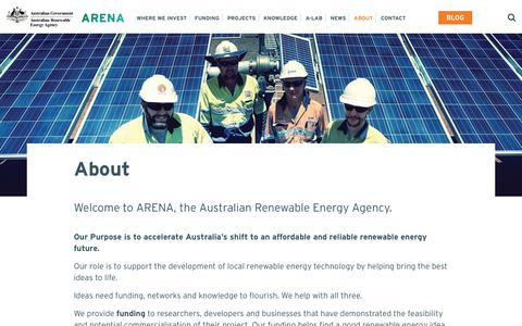 Screenshot of About Page arena.gov.au - About ARENA - Australian Renewable Energy Agency - captured June 27, 2017