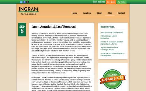 Screenshot of Blog ingramlawncare.com - lawn cutting, weekly lawn maintenance, lawn aeration, mulch  | Ingram Lawn & Garden Service - captured Oct. 6, 2014
