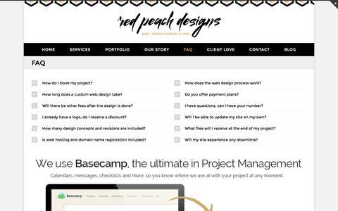 Screenshot of FAQ Page redpeachdesigns.com - FAQ about Starting Home Business Online Store - captured Oct. 27, 2014