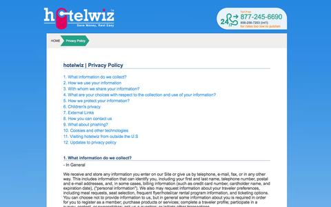 Screenshot of Privacy Page hotelwiz.com - Cheap Hotel price with the best choice hotels booking , reviews and compare  : Hotelwiz.com - captured Nov. 3, 2014