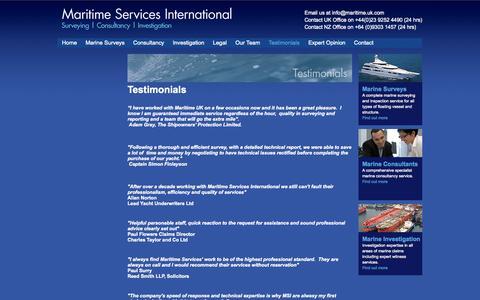 Screenshot of Testimonials Page maritime.uk.com - Marine Survey testimonials | Maritime Servies International Ltd. - captured Oct. 4, 2014