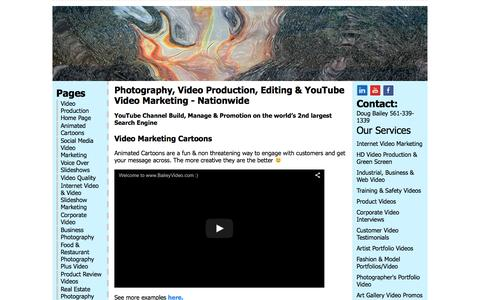 Screenshot of Home Page baileyvideo.com - Photography, Video Production, Editing, YouTube Marketing - captured Jan. 19, 2016