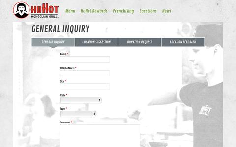 Screenshot of Contact Page huhot.com - General Inquiry | HuHot Mongolian Grill - captured Sept. 4, 2016