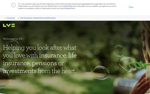 Screenshot of Home Page lv.com - LV= Liverpool Victoria – Insurance, Life Insurance, Pensions and Investments - captured July 17, 2018