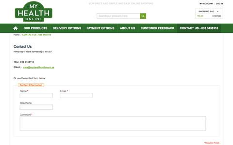 Screenshot of Contact Page Support Page myhealthonline.co.za - Contact us - captured Oct. 26, 2014