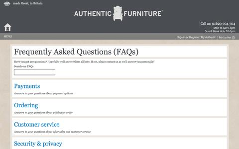 Screenshot of FAQ Page authenticfurniture.co.uk - Frequently Asked Questions - captured Oct. 4, 2014