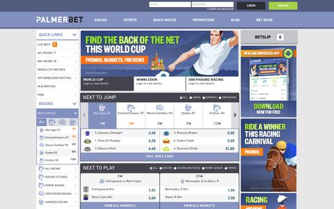 Screenshot of Home Page palmerbet.com - Online Betting Australia | Bet on Sports & Racing with Palmerbet - captured July 15, 2018