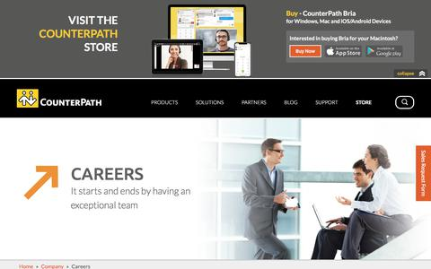 Screenshot of Jobs Page counterpath.com - Careers | CounterPath - captured July 22, 2018