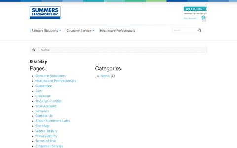 Screenshot of Site Map Page sumlab.com - Site Map - Summers Labs - captured Oct. 6, 2014