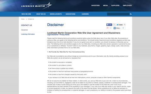 Screenshot of Terms Page lockheedmartin.com.au - Disclaimer · Lockheed Martin - captured Oct. 2, 2014