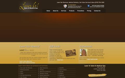 Screenshot of Home Page laser-it.ca - Laser It! Salon and Medical Spa - Laser Hair Removal, Hair Salon, Botox and more! Windsor, Ontario - captured Oct. 2, 2014
