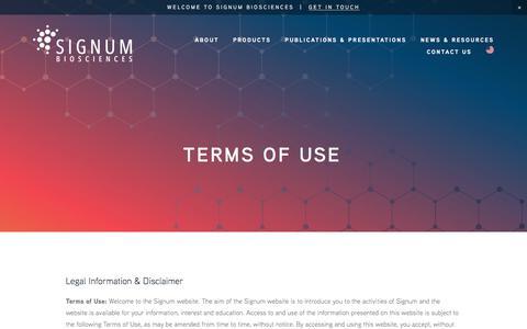 Screenshot of Terms Page signumbiosciences.com - SIGNUM BIOSCIENCES | Terms of Use - captured Nov. 1, 2017