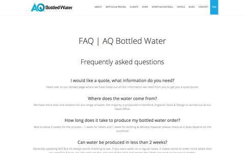 Screenshot of FAQ Page aqbottledwater.com - FAQ | AQ Bottled Water - captured July 28, 2018