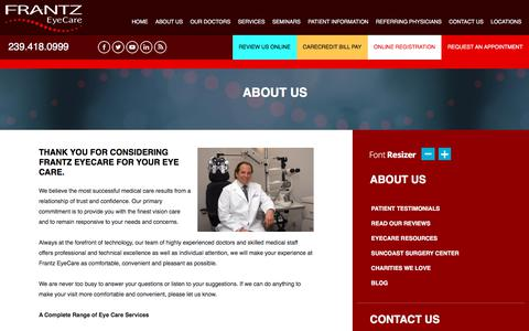 Screenshot of About Page bettervision.net - Eye Care Fort Myers | Frantz EyeCare | About Us - captured July 20, 2019