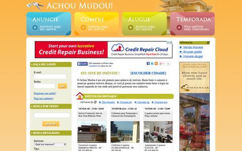 Screenshot of Home Page achoumudou.com.br - Achou Mudou! - Anúncio Grátis de Imóveis, Casas e Apartamentos. - captured Sept. 23, 2014