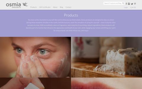 Screenshot of Products Page osmiaorganics.com - Osmia Organics | Products - captured Nov. 2, 2014