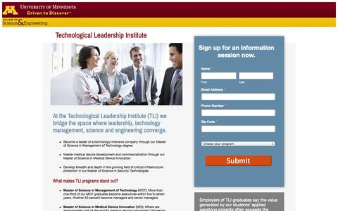 Screenshot of Landing Page umn.edu - Become a leader in technology with a Master's degree from TLI. - captured Oct. 27, 2014